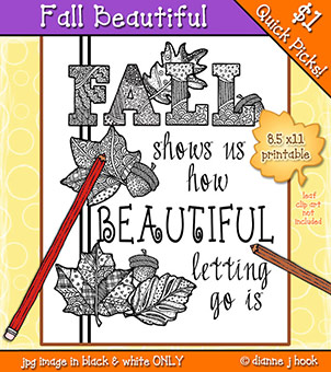 Fall Beautiful Printable Coloring Page