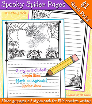 Spooky Spider Writing Pages Download