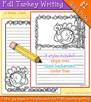 Fall Turkey Writing Pages Download