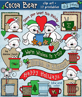 Cocoa Bear Clip Art and Holiday Printables Download