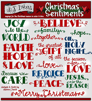 Christmas Sentiments Clip Art Download