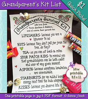 Grandparents Survival Kit Printable Download