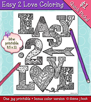 Easy 2 Love Printable Coloring Page