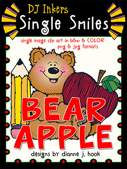 Bear Apple - Single Smiles Clip Art Image -NEW!