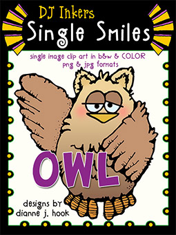 Owl - Single Smiles Clip Art Image