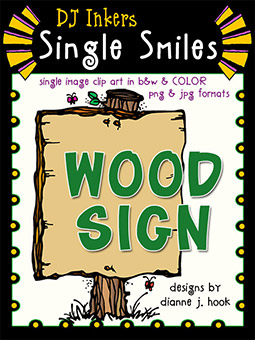 Wood Sign - Single Smiles Clip Art Image