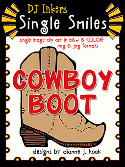 Cowboy Boot - Single Smiles Clip Art Image