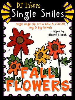 Fall Flowers - Single Smiles Clip Art Image