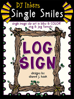 Log Sign - Single Smiles Clip Art Image