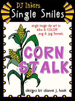 Corn Stalk - Single Smiles Clip Art Image
