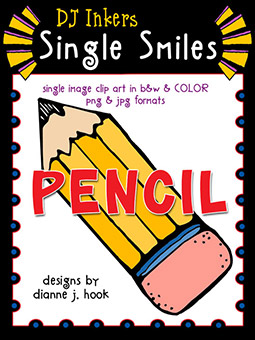 Pencil - Single Smiles Clip Art Image