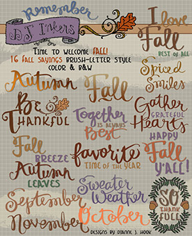 Fall Brush Words and Sayings Clip Art Download