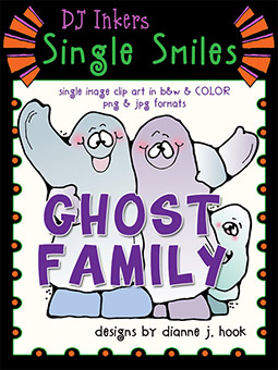 Ghost Family - Single Smiles Clip Art Image