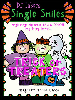 Trick or Treaters - Single Smiles Clip Art Image