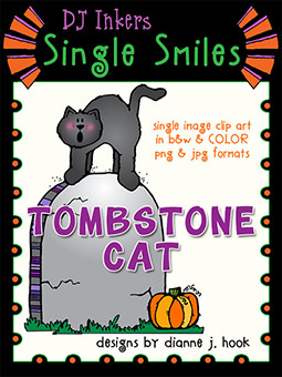 Tombstone Cat - Single Smiles Clip Art Image