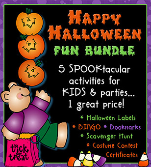 Halloween Fun Bundle - Costume Certificates, Labels, Games and Printables