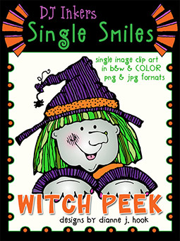 Witch Peek - Single Smiles Clip Art Image