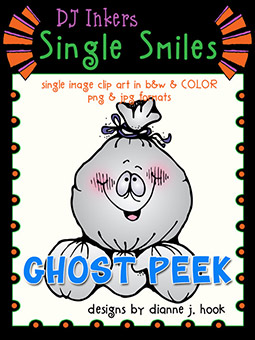 Ghost Peek - Single Smiles Clip Art Image