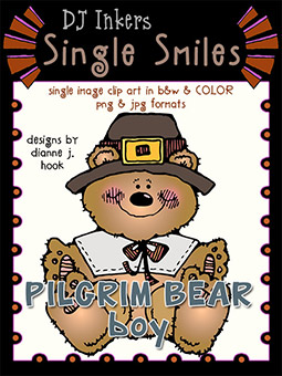 Pilgrim Bear Boy - Single Smiles Clip Art Image