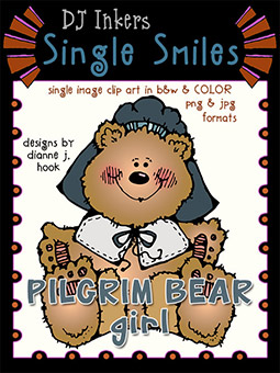 Pilgrim Bear Girl - Single Smiles Clip Art Image