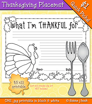 Thanksgiving Place Mat Printable Download