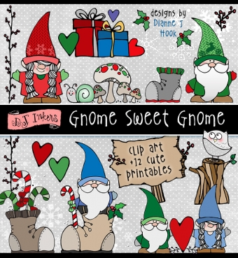 Cute clip art gnomes and festive holiday smiles by DJ Inkers