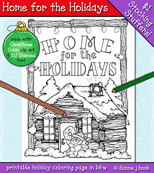 Home for the Holidays Coloring Page Download