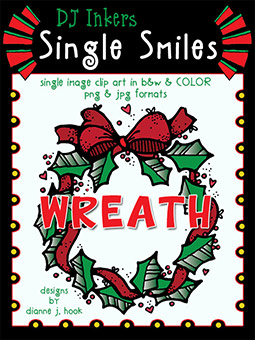 Wreath - Single Smiles Clip Art Image -NEW!