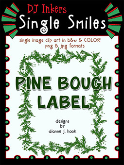 Pine Bough Label - Single Smiles Clip Art Image