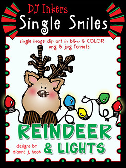 Reindeer and Lights - Single Smiles Clip Art Image -NEW!