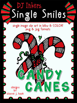 Candy Canes - Single Smiles Clip Art Image -NEW!