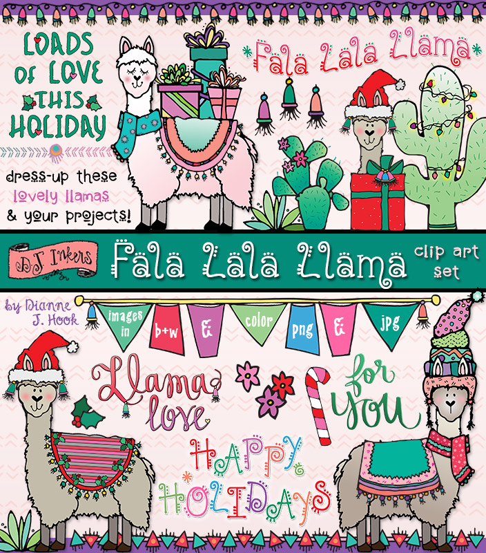 Lovely llamas and festive clip art fun for the holidays by DJ Inkers