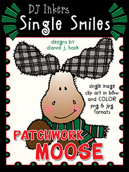 Patchwork Moose - Single Smiles Clip Art Image