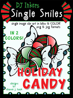 Holiday Candy - Single Smiles Clip Art Image -NEW!