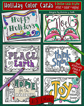 Holiday Coloring Cards Printable Download