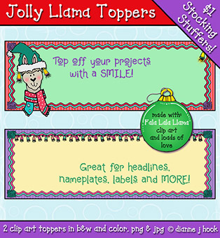 Jolly Llama Clip Art Toppers Download