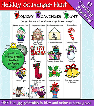 Holiday Scavenger Hunt Printable Download