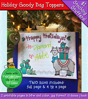 Holiday Goody Bag Toppers Printable