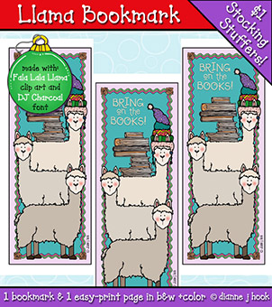 Llama Bookmark Printable Download