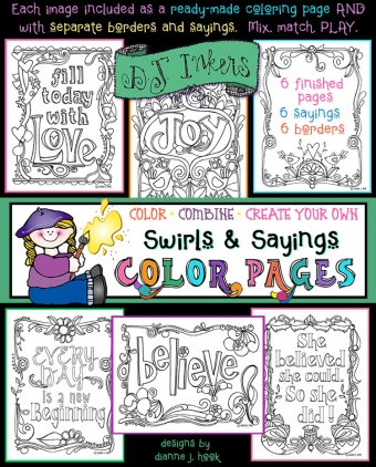 Printable adult coloring pages and clip art borders with Swirls and Sayings by DJ Inkers