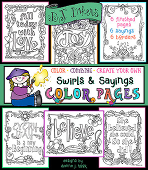 Swirls and Sayings - Printable Coloring Pages and Clip Art Borders