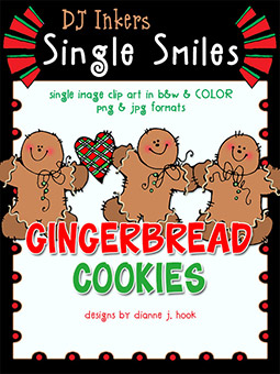 Gingerbread Cookies - Single Smiles Clip Art Image -NEW!