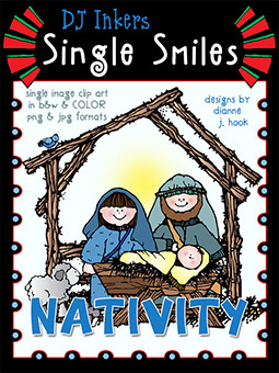 Nativity - Single Smiles Clip Art Image