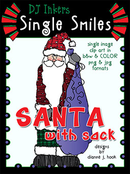 Santa with Sack - Single Smiles Clip Art Image