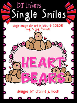 Heart Bears - Single Smiles Clip Art Image -NEW!