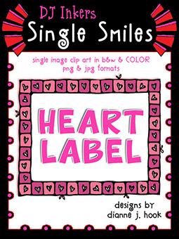 Heart Label - Single Smiles Clip Art Image -NEW!