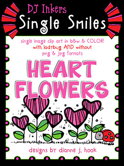 Heart Flowers - Single Smiles Clip Art Image -NEW!