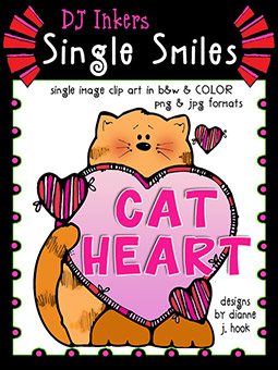Cat Heart - Single Smiles Clip Art Image