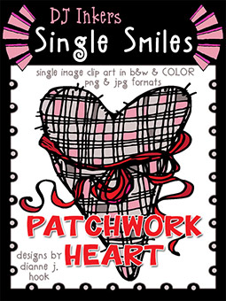 Patchwork Heart - Single Smiles Clip Art Image