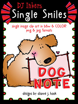 Dog Note - Single Smiles Clip Art Image